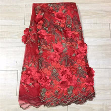 Red African Lace Fabric 2018 High Quality Lace Trim Gold African Cord Embroidered Applique Lace For Nigeria Beaded Lace Fabric(China)