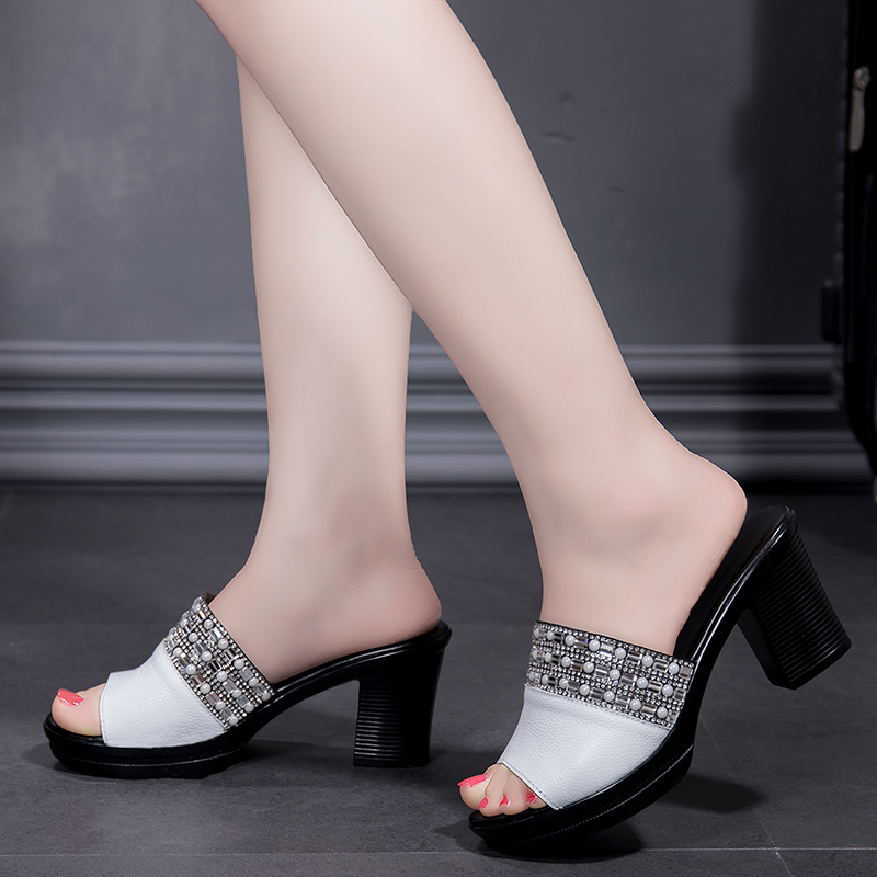 Leather Slippers Female Summer Platform High-heeled Sandals And Slippers New Fashion Slides Outdoor Large Size 40 Women Shoes 2
