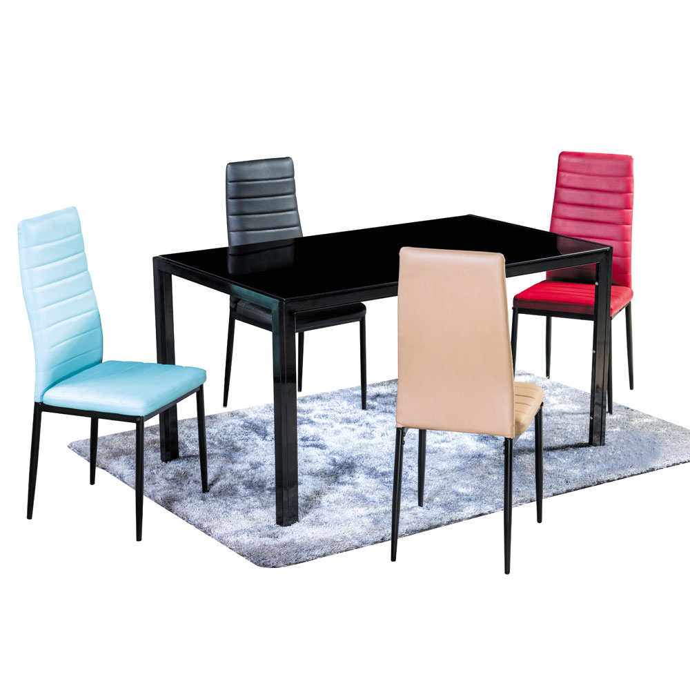 Dining table black tempered glass power coating legs hot for Tempered glass dining table