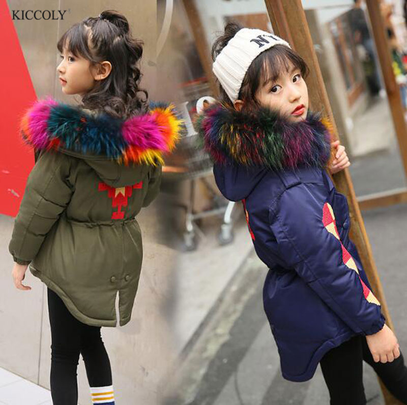 Fashion Children Winter Coat Long Down Jacket For Girl Long Parkas Kids Hooded Color Raccoon Fur Collar Coat  Zipper Outerwear new army green long raccoon fur collar coat women winter real fox fur liner hooded jacket women bomber parka female ladies fp890