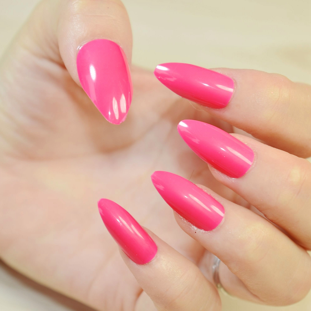 New Women Stiletto Nails Acrylic False Nail Art Tips Dark Rose ...