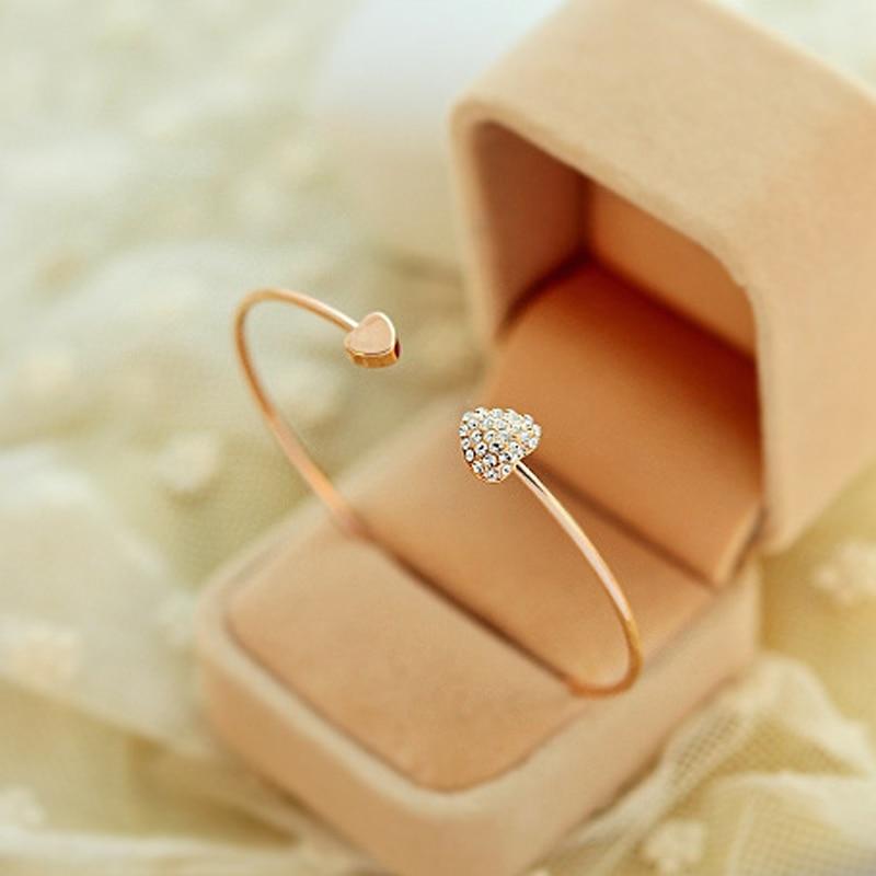 2020 nova moda ajustável cristal duplo coração bowknot chain & link pulseiras feminino jóias presente atacado