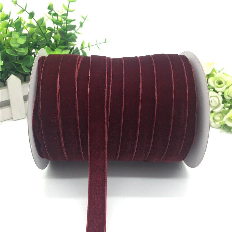 """5 ярдов 5/""""(15 мм) бархатная лента для украшения свадебной вечеринки лента ручной работы подарочная упаковка бантик для волос DIY Рождественская лента - Цвет: Wine Red"""