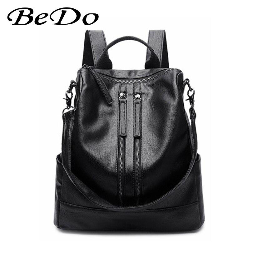 BeDo classique noir école étudiant sac à dos jeunesse PU cuir sacs à bandoulière pour les adolescentes filles de haute qualité féminin Mochila