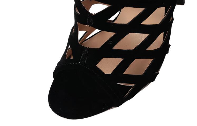 Las Botas Ahueca Mujeres Sobre Mujer Nuevo Gladiador Largas Rodilla Estilo Hacia La Bombas Toe Señoras Fuera Romano De Tacón Abierto Negro Sexy Alto w8qEPEX