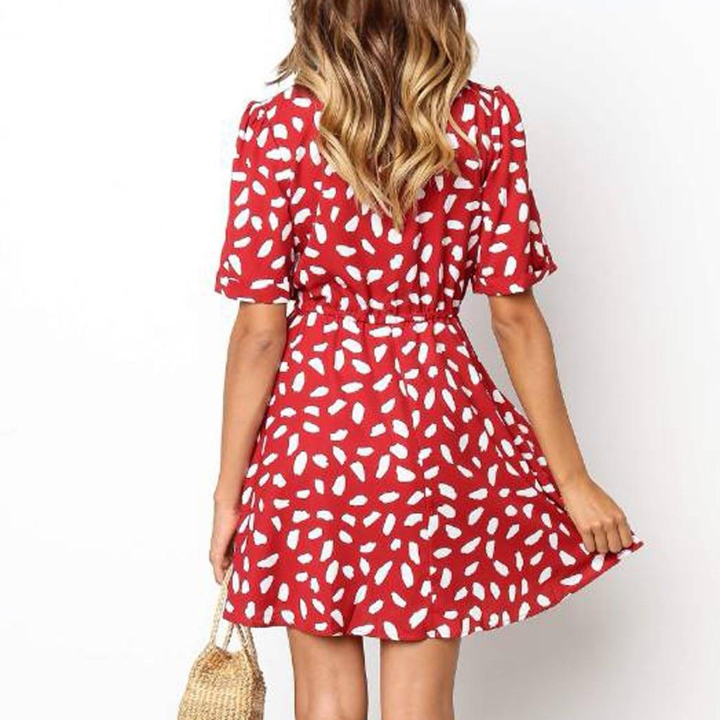 Short Sleeve dress woman basic Printing V-neck casual dress flare Button Summer Dress Princess Dress vestidos #G6