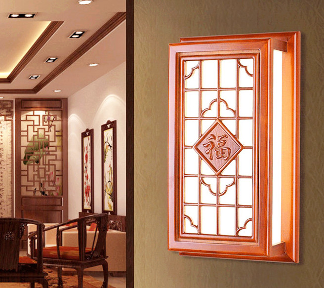 Chineses red carved wood wall lamps Modern classic white parchment E27 LED chips lamp for bedroom&porch&stairs&studio QLBD017