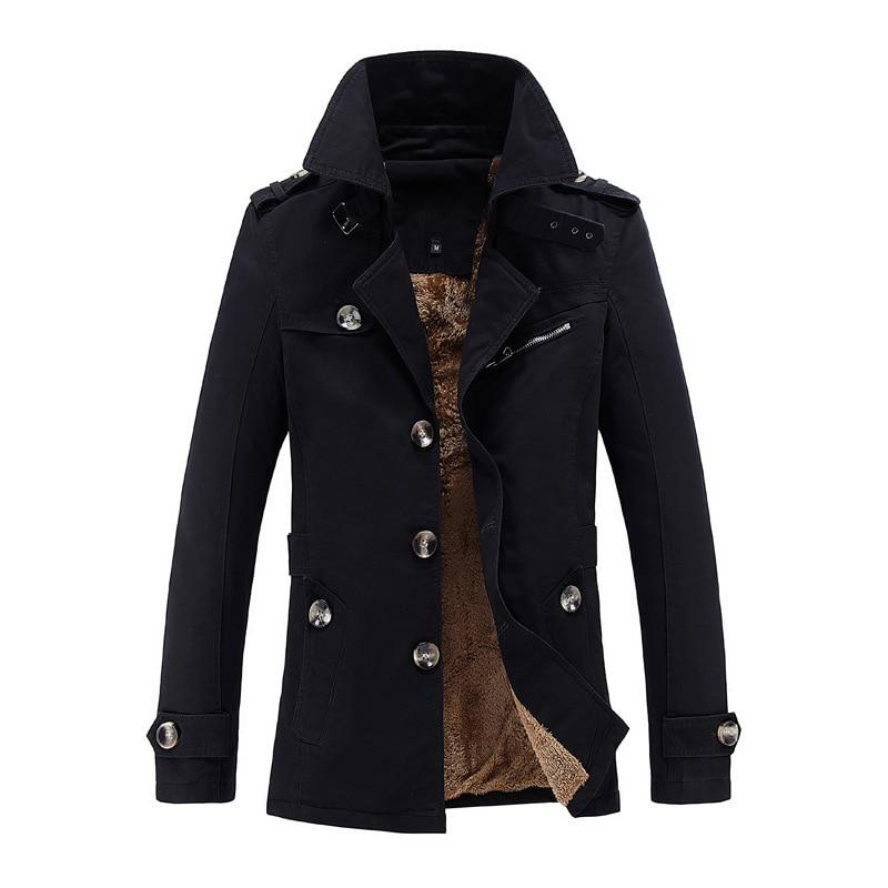 Winter Fashion Men Trench Classical Casual Warm Windbreaker Thick Velvet Long Jacket Men Big Size M-5XL Outwear Business Coats