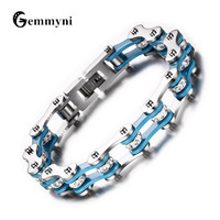 Punk Cool Biker Bicycle Men Bracelet Bangles Fashion Motorcycle Chain 316L Stainless Steel Male Wristband Blue Hand Jewelry 2018