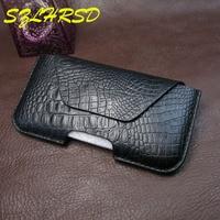 SZLHRSD Black Men Belt Clip Genuine Leather Pouch Waist Bag Phone Cover For Samsung Galaxy S8