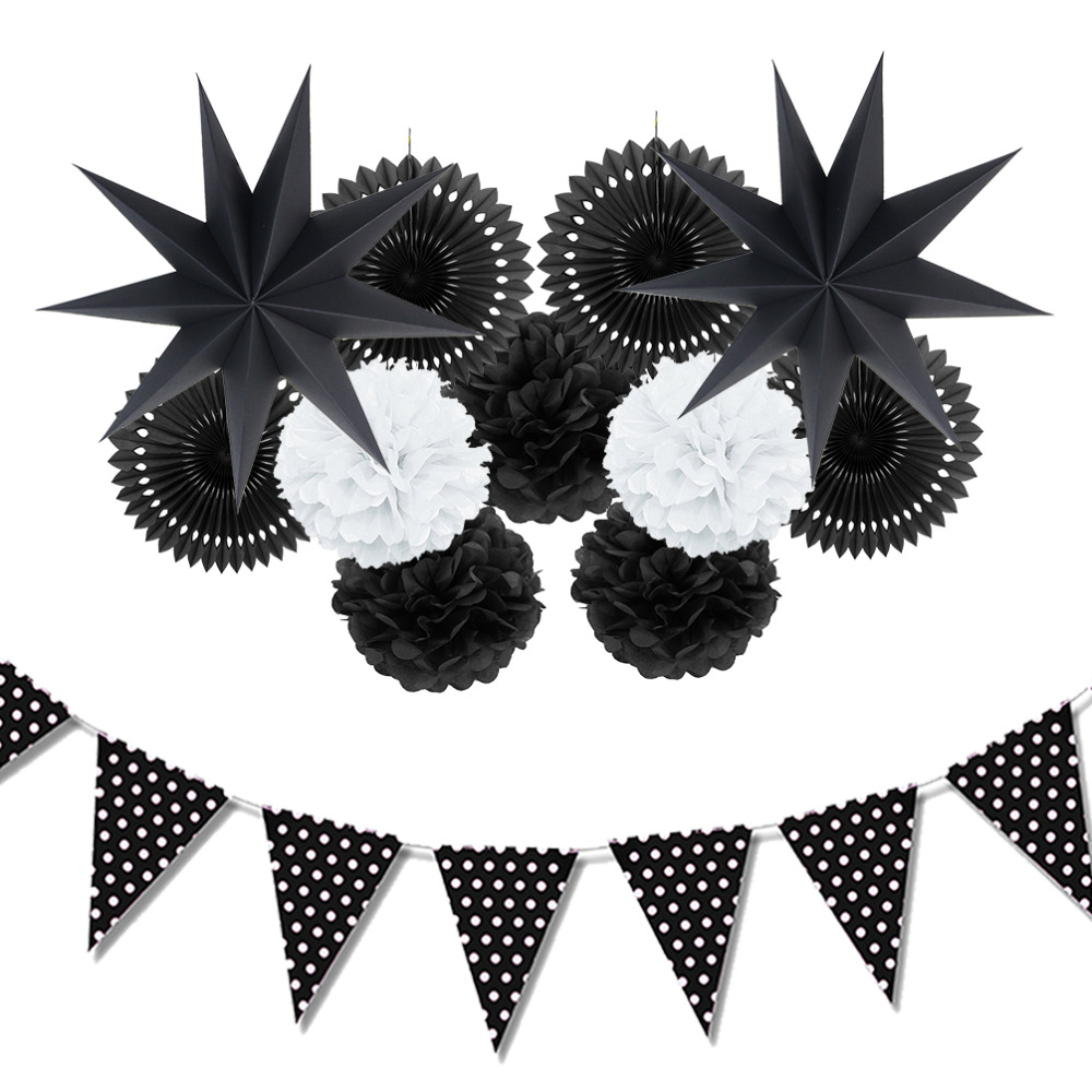 12pc (Black White) Paper Decoration Set Paper Fans...