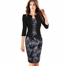 4f6f73cbe7 Kobiety Jesień Elegancka jednoczęściowa Formalną Floral Wydrukowano Sukienka  W Stylu Vintage Plus Size Pani Urząd Pracy