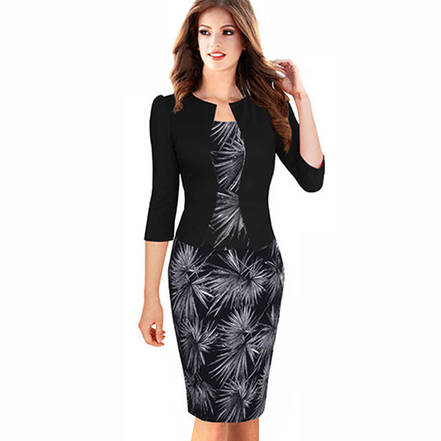 Online Shop Women Autumn Elegant One-piece Formal Business Floral Printed  Dress Vintage Plus Size Lady Work Office Bodycon Pencil Dress B237  0fa32dfc787c