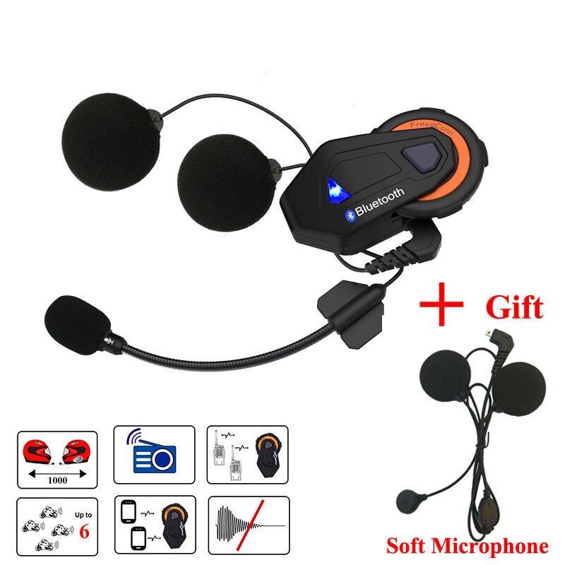 Casque d'interphone Bluetooth casque moto z-max Bluetooth 6 coureurs groupe parlant FM intercomunicador moto + écouteur souple