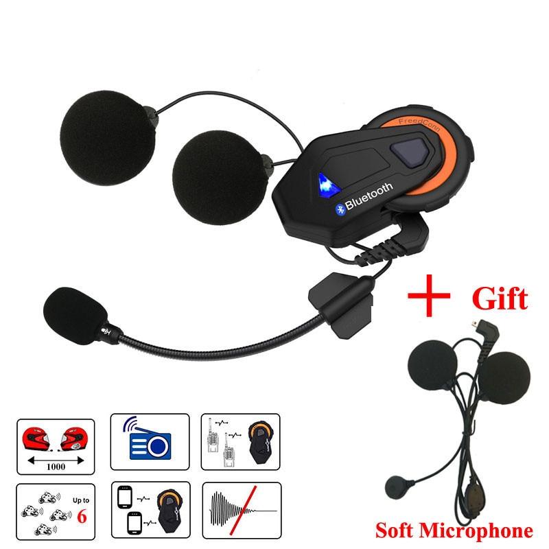 Freedconn T-Max moto rcycle Capacete Bluetooth Headset Intercom 6 Grupo de Pilotos Falando FM Fone de Ouvido intercomunicador moto + Macio