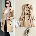 Europe 2017 Fashion Spring and Autumn Outwear Double Breasted Medium-long Windbreaker Khaki Slim Casual Female Trench Coat S-3XL