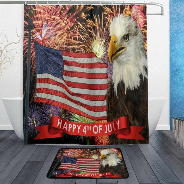 American USA Flag Patriotic Bald Eagle Shower Curtain And Mat Set 4th Of July Indepence