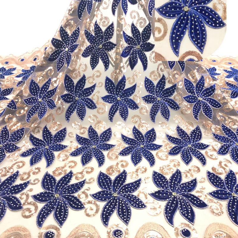 Best Selling African Velvet Lace Fabric With Stones Dubai Embroidered French Tulle Lace High Quality For