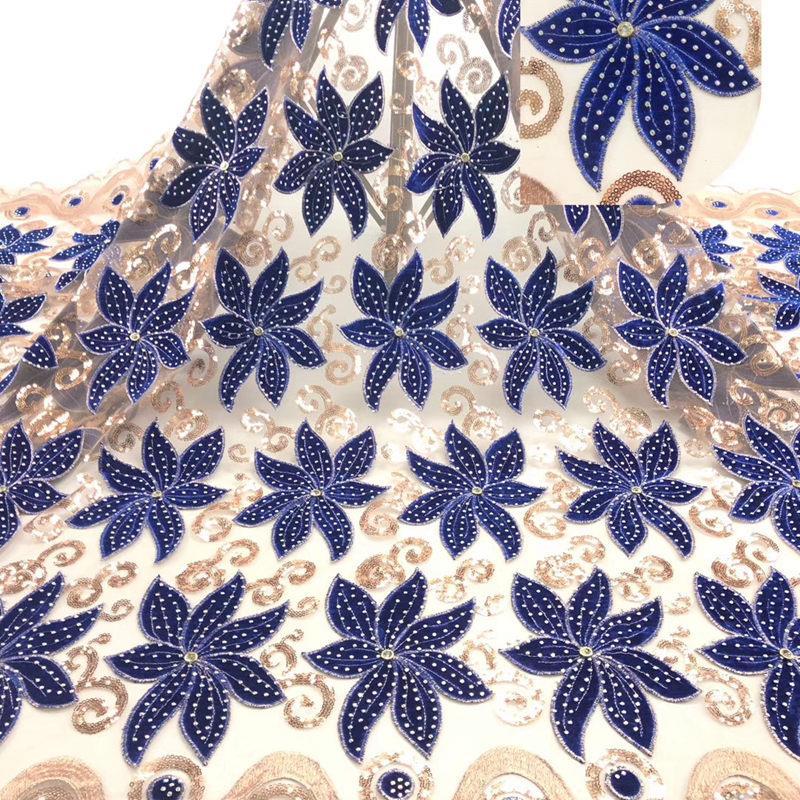 Best Verkopende Afrikaanse Fluwelen Kant Stof Met Stenen Dubai Geborduurde Franse Tulle Lace Hoge Kwaliteit Voor Feestjurk RG339-in Kant van Huis & Tuin op  Groep 1