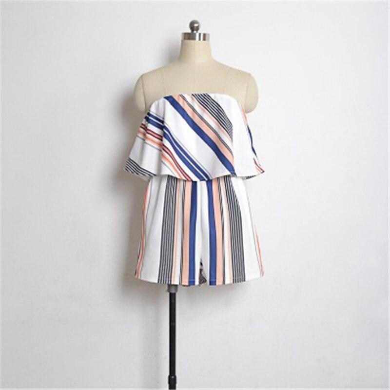 Women Off Shoulder Romper Strapless Floral Print Striped Beach Shorts Jumpsuit