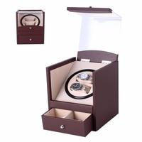 автоматический поворот заводчик для часов коричневый прозрачная крышка намотки роскошные 2 сетки шкатулка кубовидной форма сша штекер коробка наручных часов с ящиком