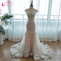 2018 Spring Mermaid Wedding Dresses Blush Pink Lace Bridal gowns Sexy Backless Vestidos Noiva bohemian Gelinlik with Veil Z971