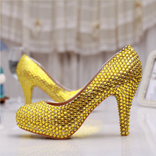 Gold Rhinestone heels Handmade Sexy Women Platforms Bridal Wedding Shoes Evening Party Prom High Heel Gold Bridesmaid Shoes