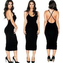 Neue Mode Damen Frauen Sexy V-ausschnitt Cross Strap Backless Paket Hüfte Cocktail Bleistift 2016 Kleid