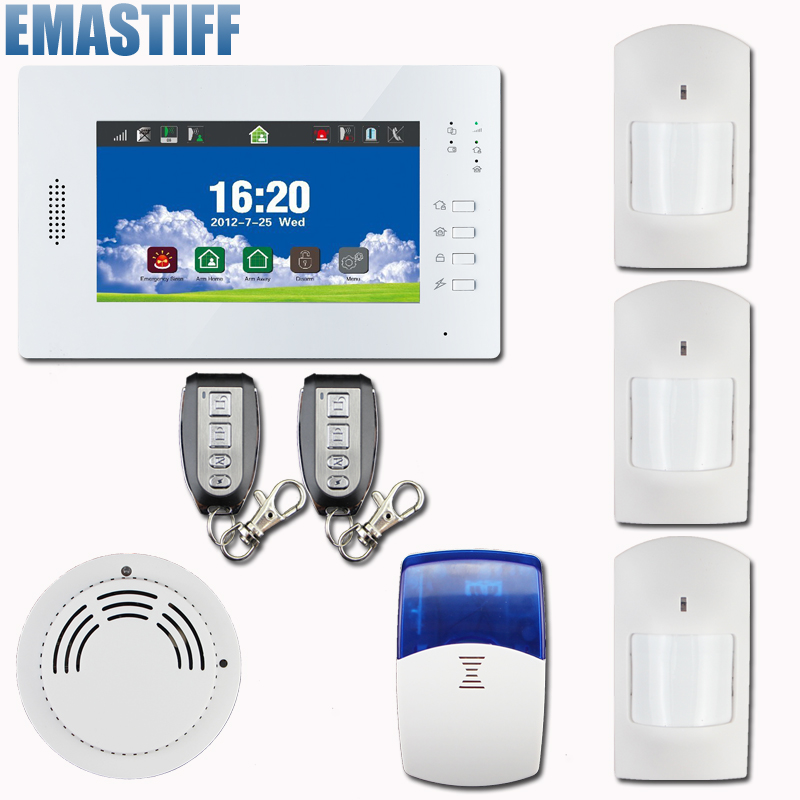 Free shipping!30 Zones Touch Keypad LCD GSM PSTN Wireless Security Home Office Burglar Intruder Alarm System Fire Alarm w 868MHZ wireless door magnetic sensor detector for touch keypad panel gsm pstn home security burglar voice alarm system