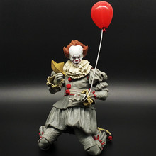 2019 18cm Neca Stephen King's It Pennywise Joker Clown movable PVC Action Figure Toys Dolls balloon Halloween Day Christmas Gift(China)