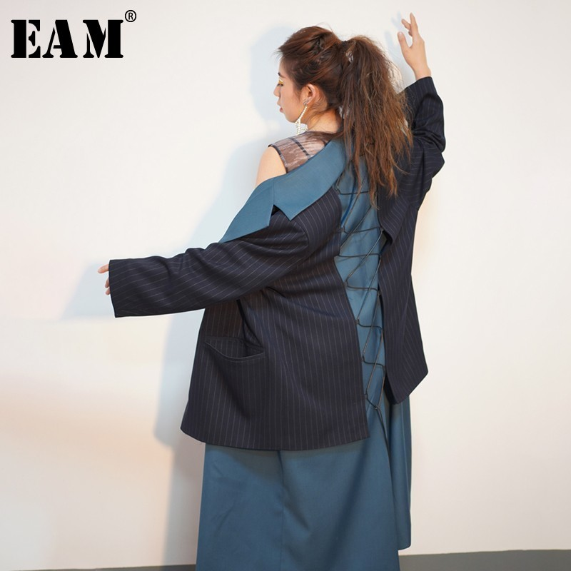 EAM 2019 New Spring Lapel Long Sleeve Blue Striped Stitch Loose Long Irregular Bandage Windbreaker