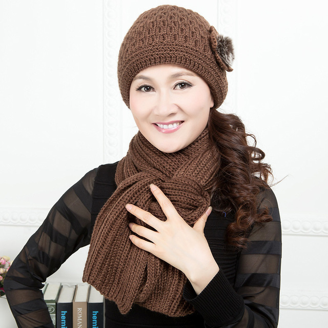 Two-piece Women's Hat and Scarf Female Winter Warm Hat Mother Fashion Knitted Cap and Scarf Knitted Female Mother Cap B-4360