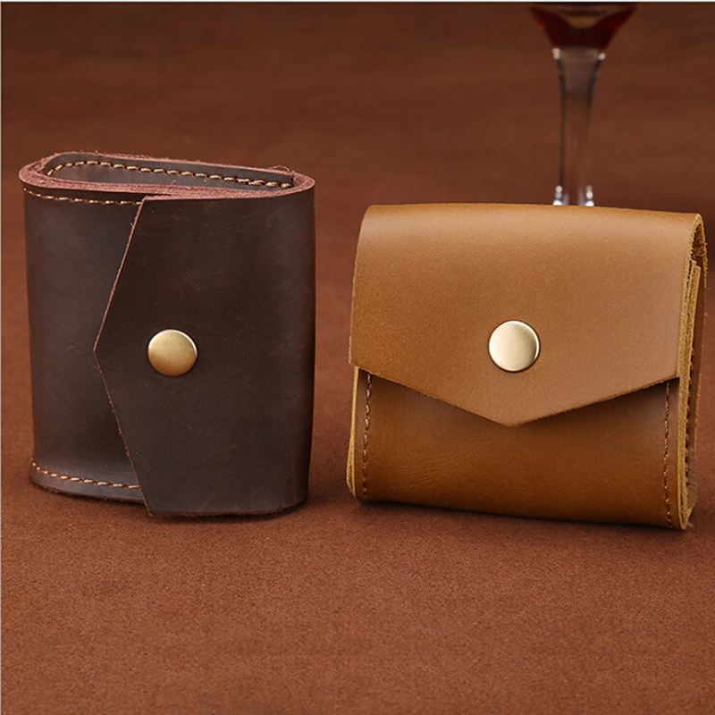 Vintage Genuine Leather Coin Purse Unisex Small Coin Wallet Mini Bag Multifunction Earphone Line Headset Bag Porte Monnaie Homme
