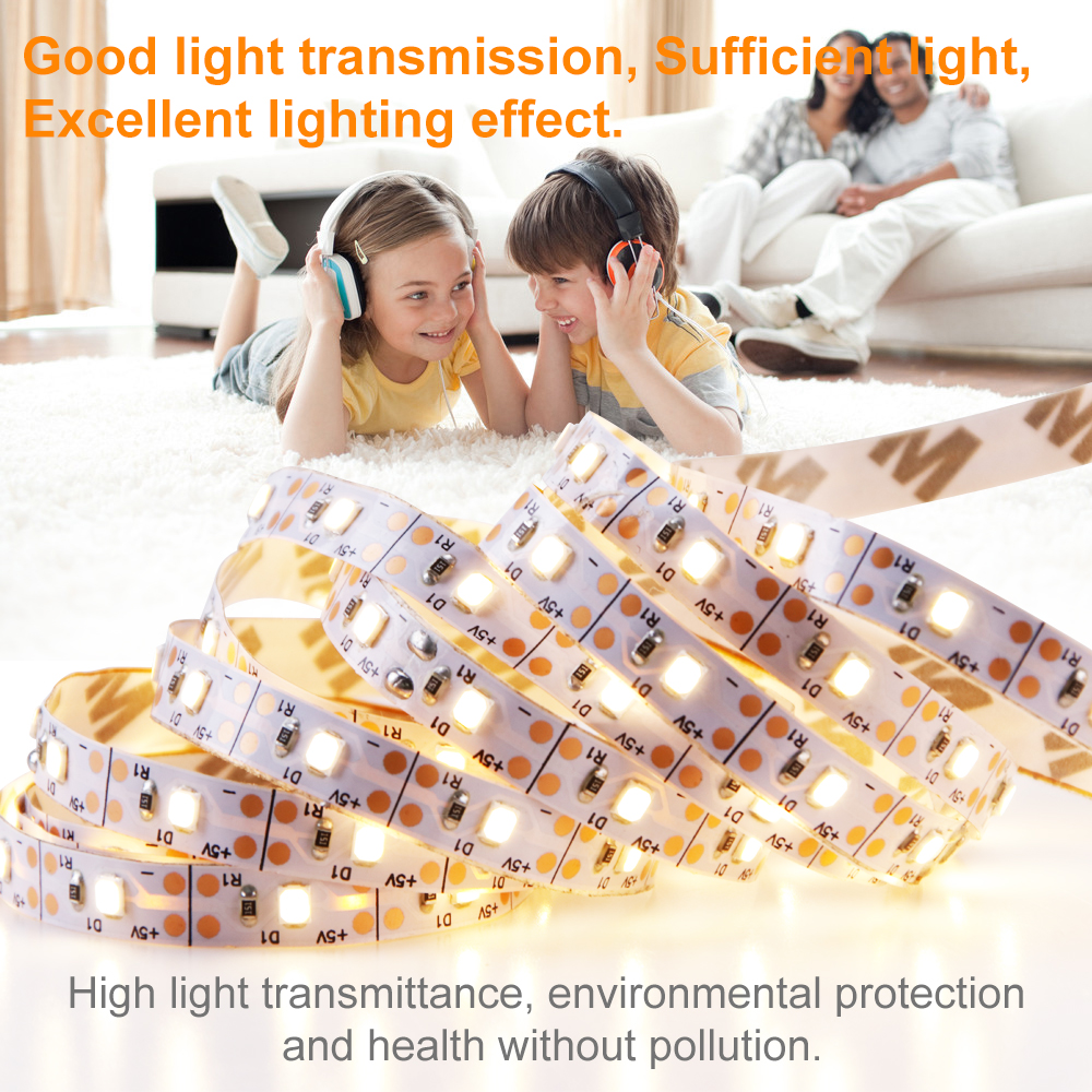 5V USB Led Strip 5M Flexible Fita Tira Led Light Strip Cocina Closet Kitchen Decor Lamp Bar 2835 SMD TV PC Background Lighting