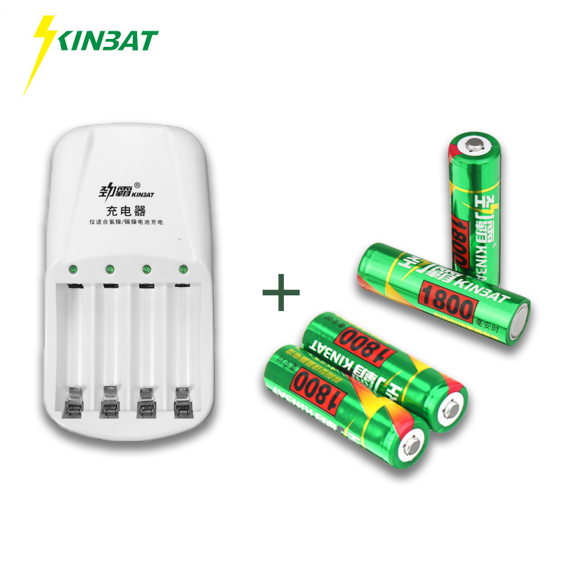 KINBAT 4pcs 1800mAh 1.2V AA Ni-MH Rechargeable Battery NiMH Battery With 4 Slots Batteries Charger For Toy Camera Remote Control