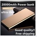 Lluxury Original 20000mAh Power Bank Ultra-thin External Battery Pack Led light 2USB For Universal Smartphone Tablet free ship