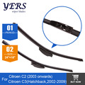 "wiper blades for Citroen C3 (Hatchback, 2002-2009) / C2 (from 2003 Onwards) 24""+18"" fit standard J hook wiper arms"