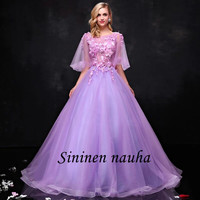 2019 Quinceanera Dresses With Sleeve Floral Organza Ball Gown Sweet 16 Dresses Prom Party Dress Lavender Vestidos De 15 Anos 350