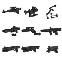 9pcs/lot POGO Star Trek Halo Science Fiction Black Sniper Rifle Submachine Gun Tactics Bow War Weapons Part Building Block Toys