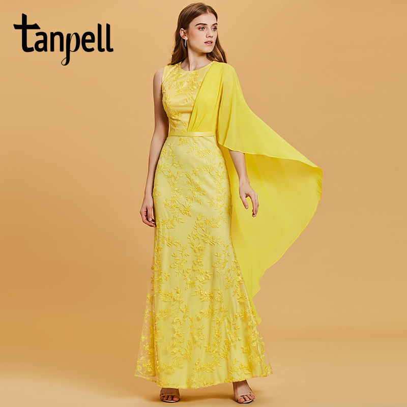 Tanpell lace long evening dress daffodil scoop neck floor length mermaid gown women appliques empire prom