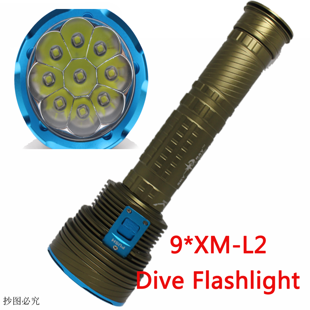 20000LM Underwater Dive Light LED Flashlight XM-9xL2 Diving lamp Torch Defensive waterproof Lighting submarine Fishing Lights 3800 lumens cree xm l t6 5 modes led tactical flashlight torch waterproof lamp torch hunting flash light lantern for camping z93