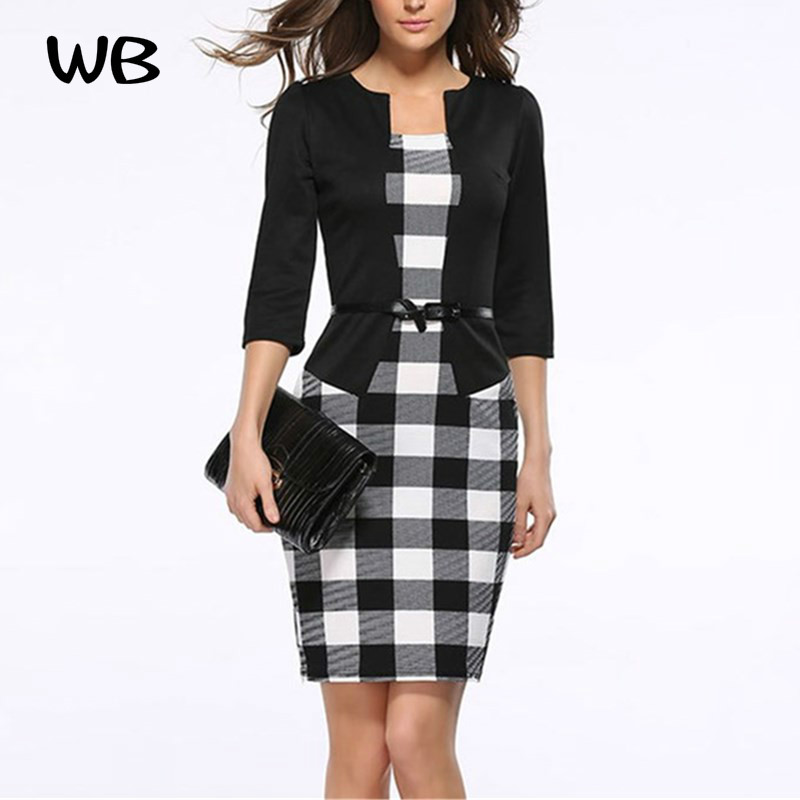 2017 Spring Womens Elegant Faux Twinset Belted font b Tartan b font Floral Lace Patchwork Wear