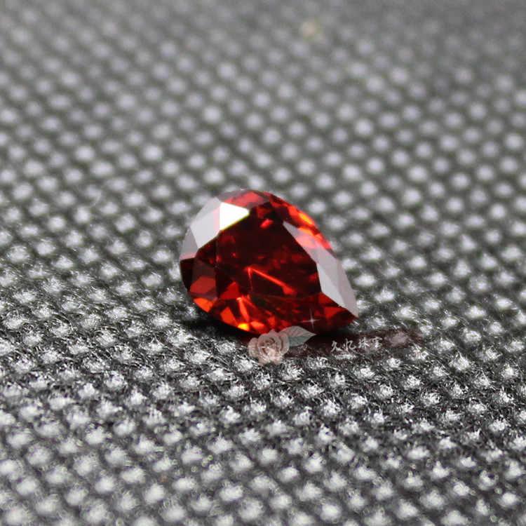 ลูกแพร์รูปร่างน้ำวางโกเมนสีแดงcubic z irconiaหินCZลูกปัดสำหรับเครื่องประดับทำDIYที่มีสีสันหินหลวม