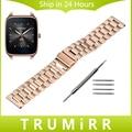 De acero inoxidable de la venda de reloj de 22mm para asus zenwatch 1 2 hombres WI500Q WI501Q Pebble Tiempo/Acoplamiento de La Correa de Pulsera Pulsera de La Correa de Acero negro