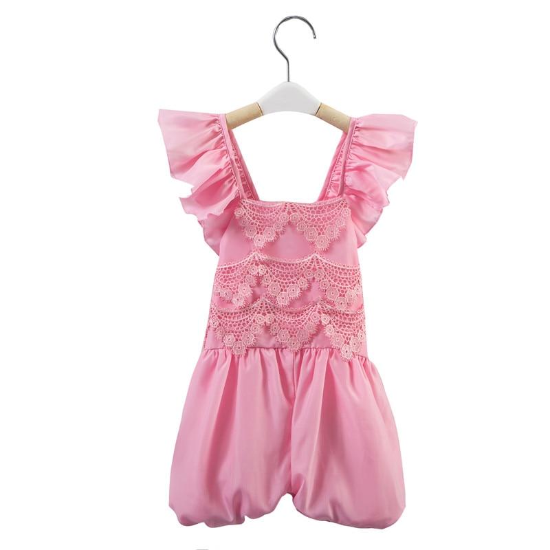 be4bf83993 Nuevo verano Nuevo Bebé Ropa cordón knickerbockers muchacha sin mangas mono  niño recién nacido color rosa mamelucos