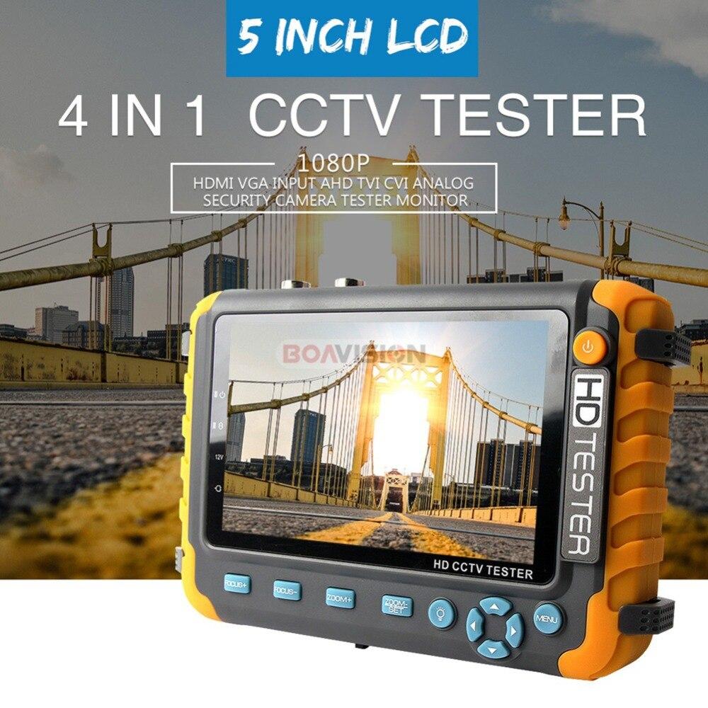 1080 P 4 en 1 TVI AHD CVI analógico CCTV cámara de 5 pulgadas TFT LCD construir en la batería de seguridad probador de Monitor de Audio y Video de prueba - 2