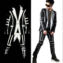Mens Slim Fit Blazer Reflective Stripe Splice Suit Sets Male Nightclub Fashion Hip Hop Singer Dancer Stage Wear Costumes New(China)