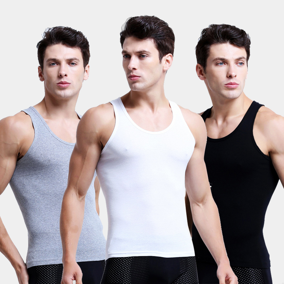 3pcs/lot Man's 100% Cotton Solid Seamless Underwear Undershirts Brand Clothing Mens Sleeveless Tank Vest Comfortable Undershirt