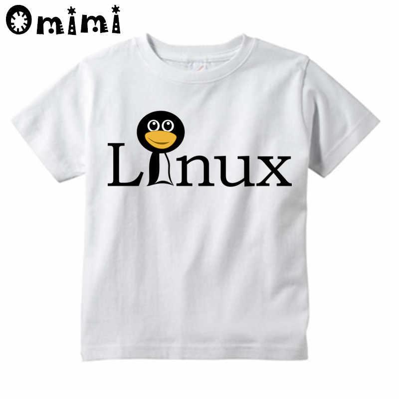 Garçons/filles le pingouin LINUX dans un T-Shirt imprimé par ordinateur enfants à manches courtes hauts T-Shirt blanc pour enfants