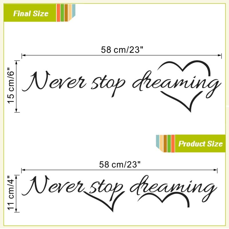Never stop dreaming inspirational wall art 2